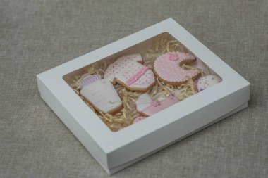 Baby shower cookies in box