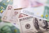 Euro peníze. Euro pokladní pozadí. Několik stovek euro bankovky