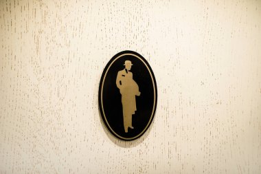 Mens restroom sign, toilette symbols. Information sign with a si
