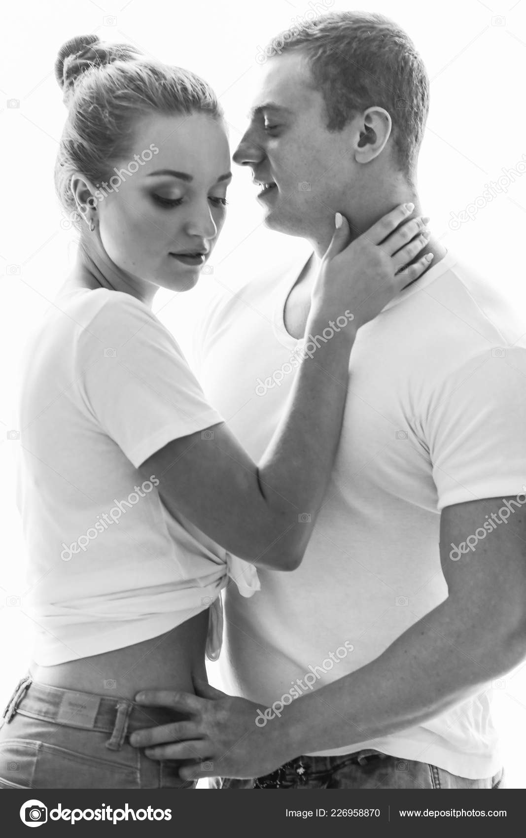 Sexy couple young lovers people love black white photos sexy stock photo