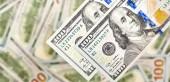 Peníze se zblízka. Americký dolar a euro bankovky.