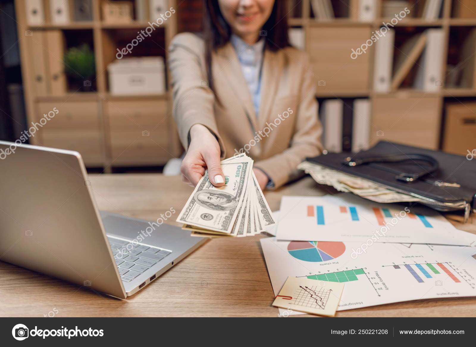 Close Woman Money Businesswoman Holding Cash Hand Giving