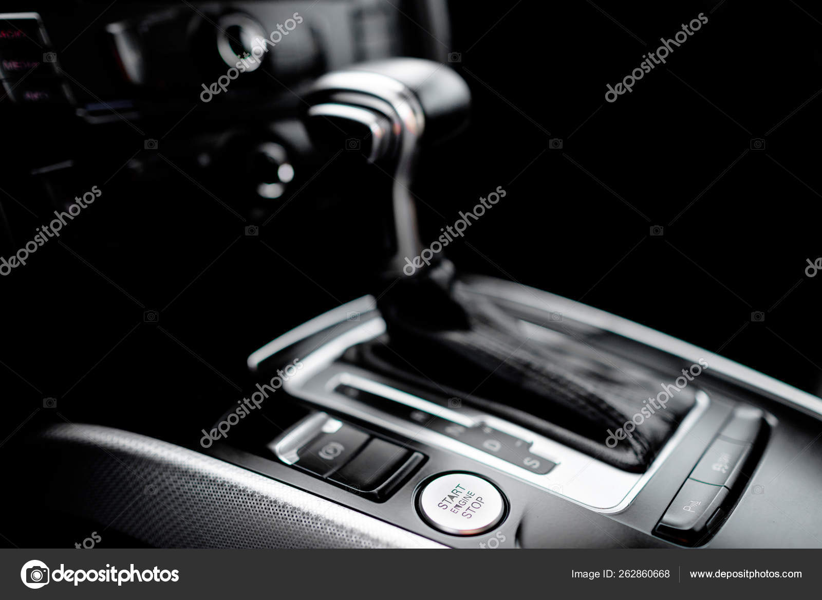 Luxury Car Interior Details Automatic Gear Stick Modern Car