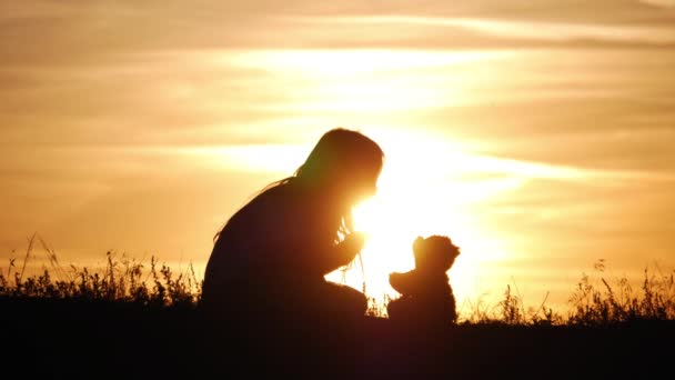 Little girl with teddy bear at sunset. Silhouette girl holding a bear doll bear watching the sunset. Concept big dream.