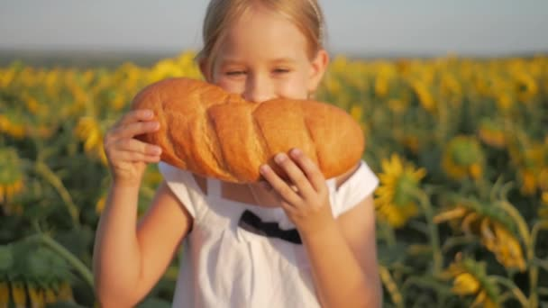Close up little girl is eating bread in the field of a sunflower. Girl eating bread outdoors.