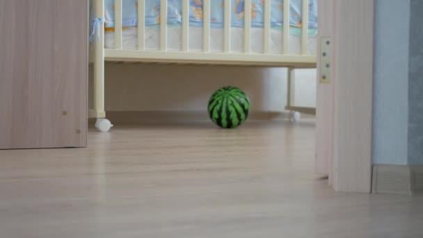 Dětství, děti a lidé koncept - krásný chlapeček hraje s hračkami doma.