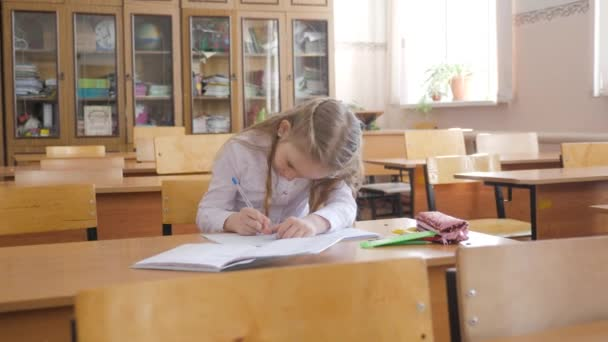 Little girl sitting and studying at school class.
