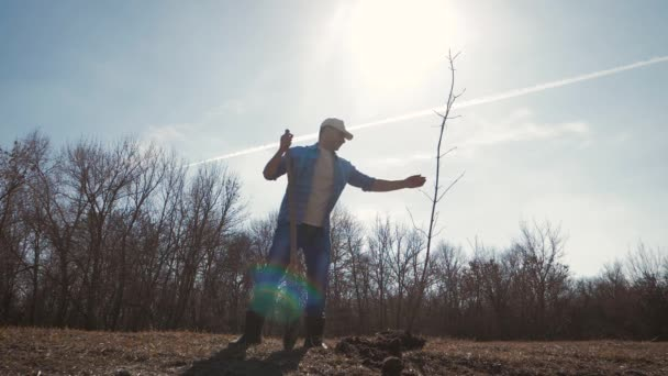 Junger Mann im Frühling einen Baum zu Pflanzen. Gärtner setzen junge Frucht Baum Sämling in das vorbereitete Loch im Bereich. Das Konzept der Frühling Garten Arbeit.