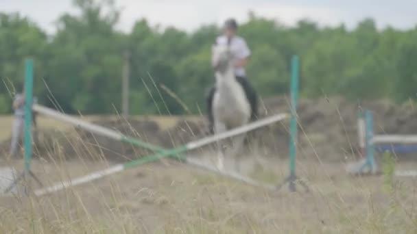 Rennpferde und Jockeys springen über eine Hürde. Unschärfeeffekt.