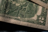 Fotografie Closeup of the Declaration of independence drawing from the back of a two dollar bill.