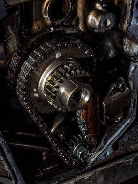Detail of car engine part.