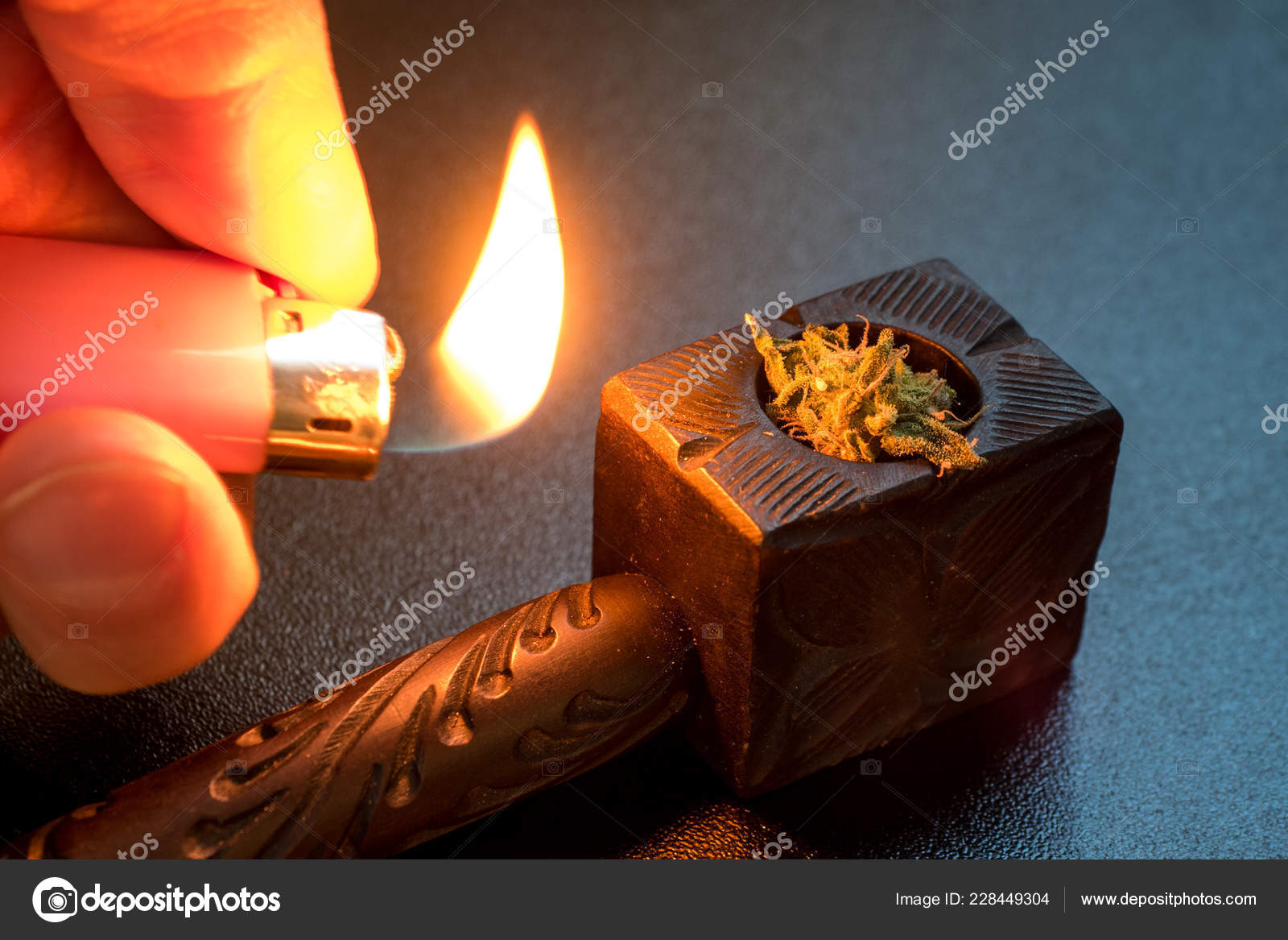 Wooden Tobacco Pipe Cigarette Lighter Hemp Smoking Smoke