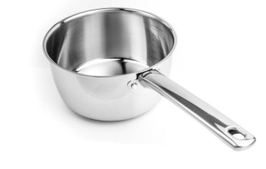 Stainless steel cooking pot without cover. Isolated on white background.