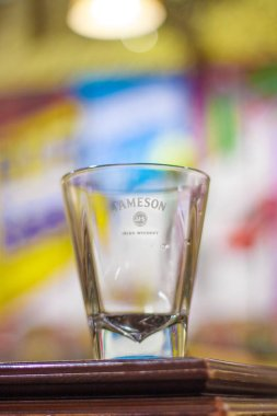 glass with Jameson  sign  close up