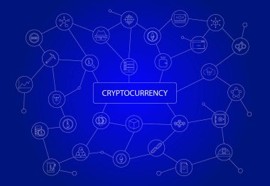 Cryptocurrency word with icons