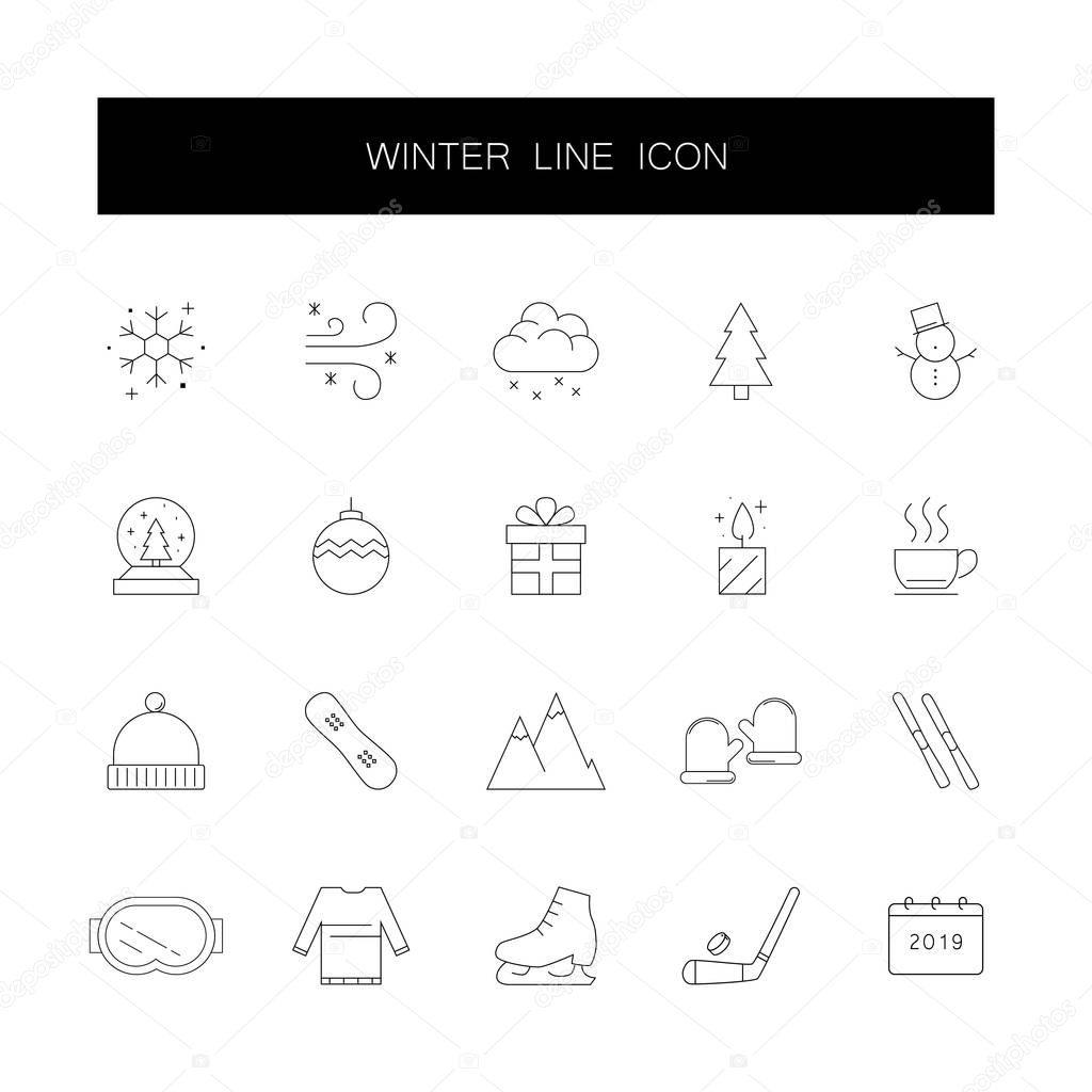 Line icons set. Winter pack.