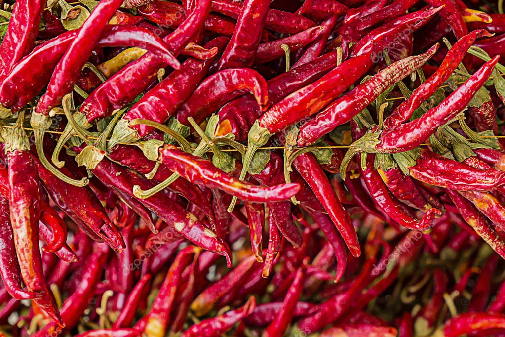 set of sharp dry pods of red chili peppers a lot of fruits horizontal pattern bases of sauces Asian Mexican dishes