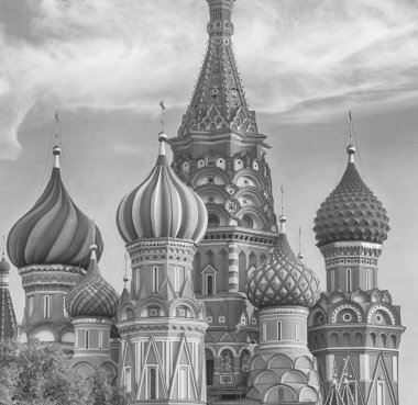 Moscow Russian Federation 10/07/2018. St. Blessed Cathedral on the Red Square of Moscow, tinted design