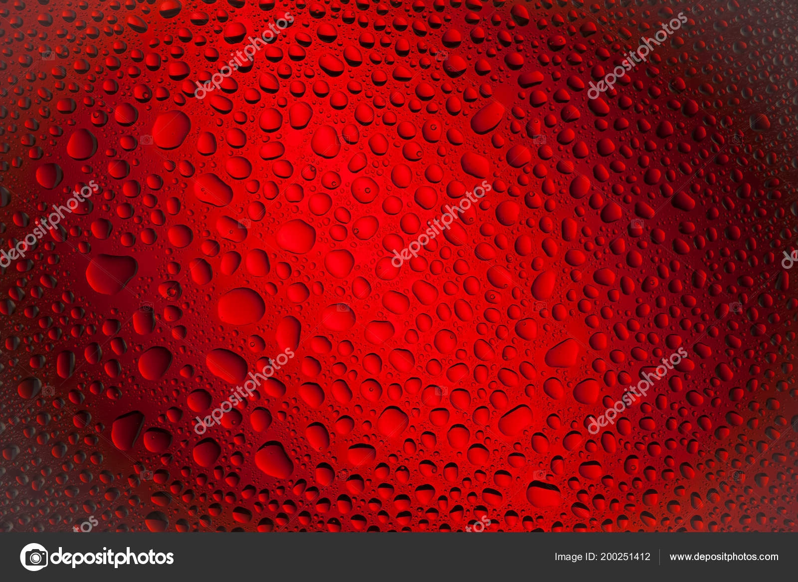 Close Water Drops Black Red Gradient Background Covered Drops Water