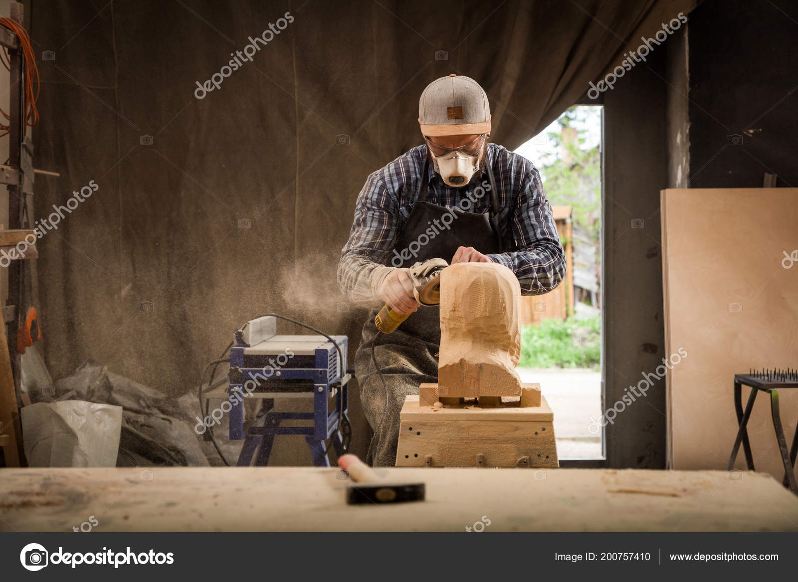 Carpenter Work Clothes Small Buiness Owner Working Woodwork
