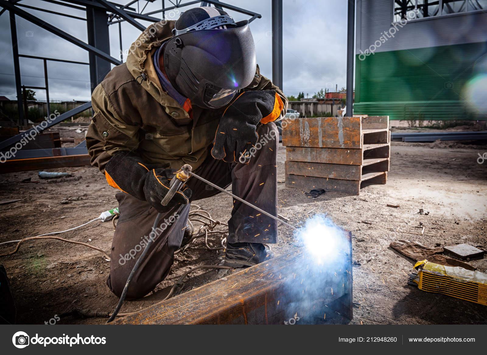 Young Man Welder Brown Uniform Welding Mask Welders Leathers Weld