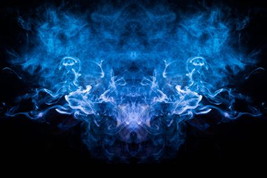 Cloud of blue, red smoke  in the form of a skull, monster, dragon  on a black isolated background. Background from the smoke of vape. Mocap for cool t-shirts