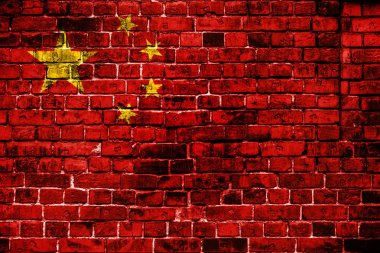 National flag of China on a brick background. Concept image for China: language , people and culture.