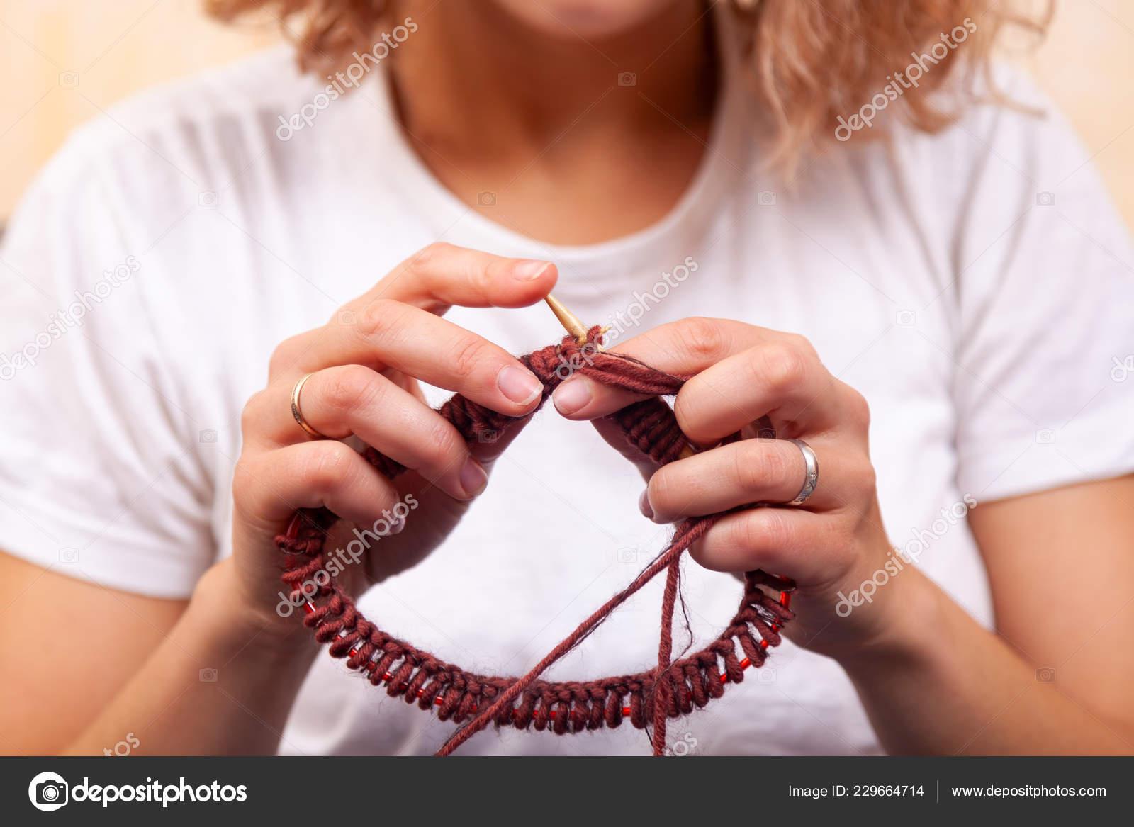 Close Dark Haired Beautiful Woman Smiling Knitting Knitting Crochet