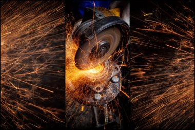 A collage of four photos: a close-up the welder cuts the metal with an angle grinder, the sparks from cutting fly in different directions.