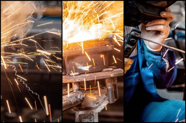 A collage of four photos: a close-up the welder man welds the metal with an welder machine, the sparks from cutting fly in different directions.