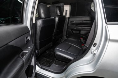 Novosibirsk, Russia - February 15, 2019:  Mitsubishi Outlander,close-up of the rear seats. Photography of a modern car on a parking in Novosibirs