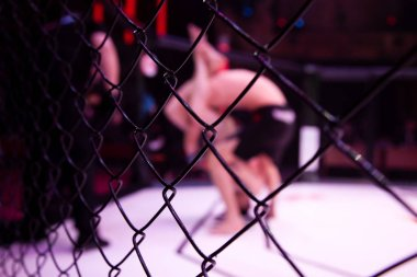 Close-up of the metal cage, in the background arena of the octagonal scene by the battle of two professional male athletes, in the background is the judge. Fights without rules according to MMA version