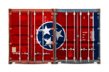 Close-up of the container with the national flag of Tennessee state. The concept of  Tennessee state  export-import and national delivery of goods.