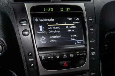 Novosibirsk, Russia - May 23, 2019:  Lexus  GS300, close-up of the dashboard, monitor with radio, navigator, player. Photography of a modern car on a parking in Novosibirs