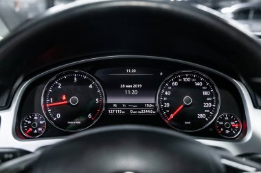 Novosibirsk, Russia - May 28, 2019:  Volkswagen Touareg, close-up of the dashboard, speedometer and tachometer. Photography of a modern car on a parking in Novosibirs