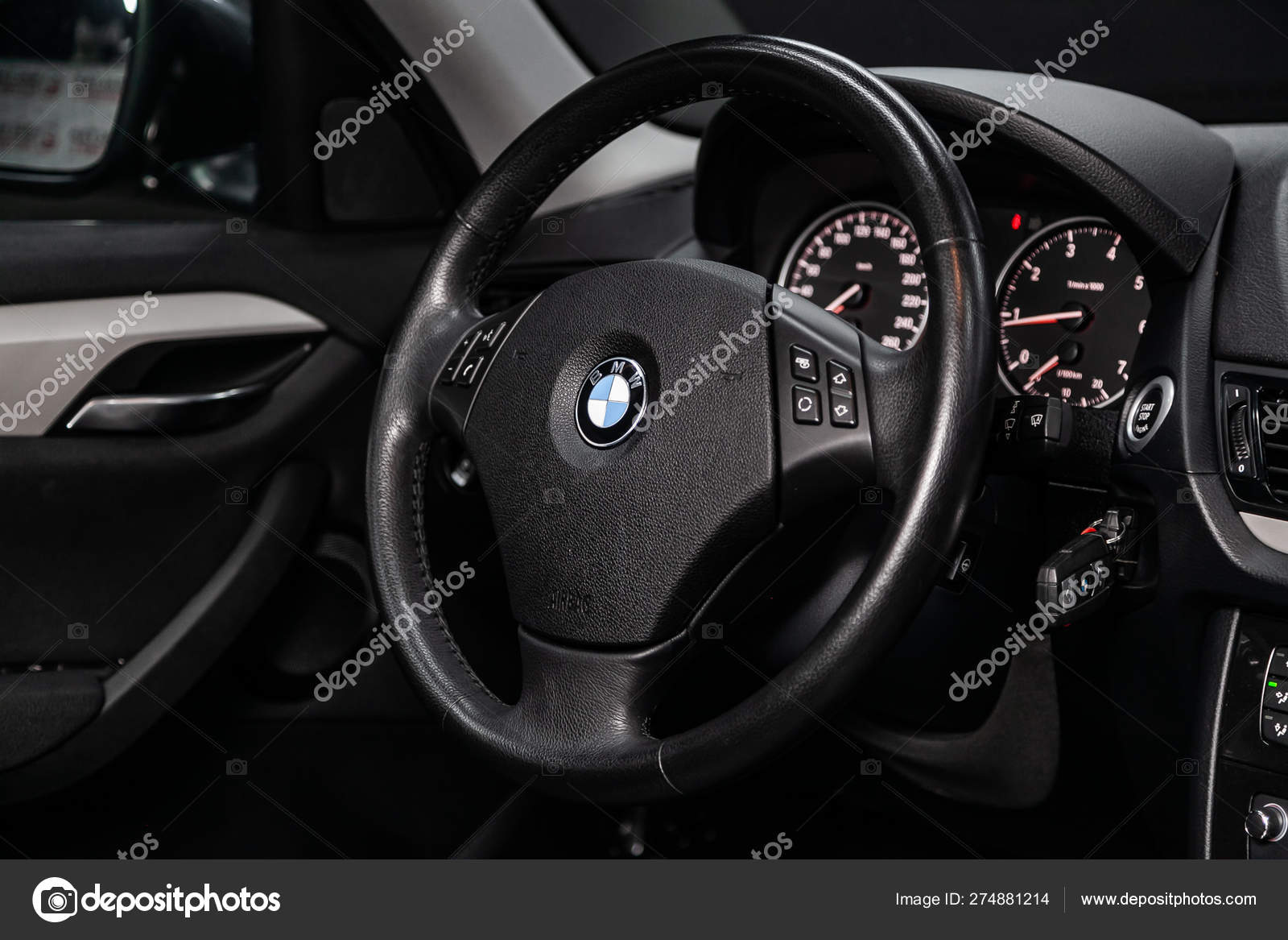 Novosibirsk Russia June 2019 Bmw Close Dashboard Speedometer
