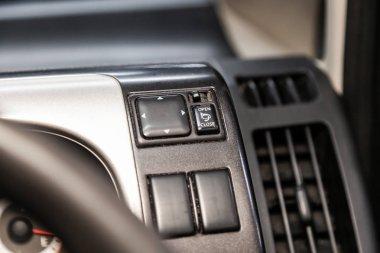 Novosibirsk, Russia  August 27, 2019:  Nissan Serena, Close-up on the headlight, side mirror, door lock stock vector