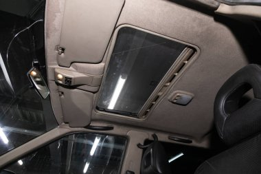 Novosibirsk/ Russia  March 31, 2020: Nissan Terrano,interior design, Luke and driver seats with seats belt.