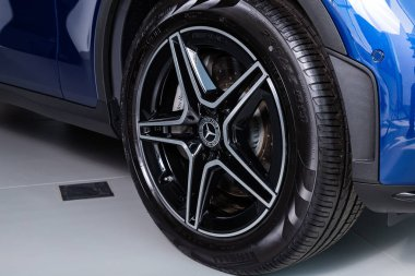 Novosibirsk/ Russia  April 06 2020: Mercedes-Benz GLC-class , close-up of the bumper, alloy wheel, car detailing  with break stock vector