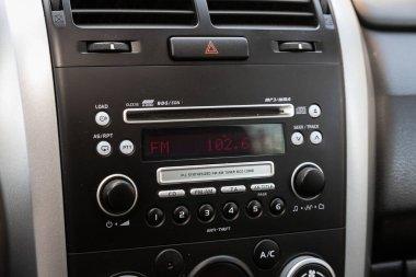 Novosibirsk/ Russia  May 02, 2020: Suzuki Grand Vitara, Modern black car interior: radio ,audio system with monitor  and control button