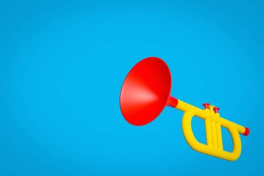 3d illustration of a trumpet musical instrument in yellow-red color in cartoon style on a blue isolated background.