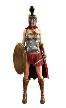 Portrait of a Greek Spartan female warrior equipped for battle with a sword and shield on a white isolated background. 3d rendering.