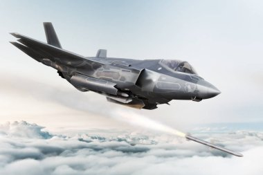 F-35 Advanced military aircraft locking on target and firing Missile's . 3d rendering
