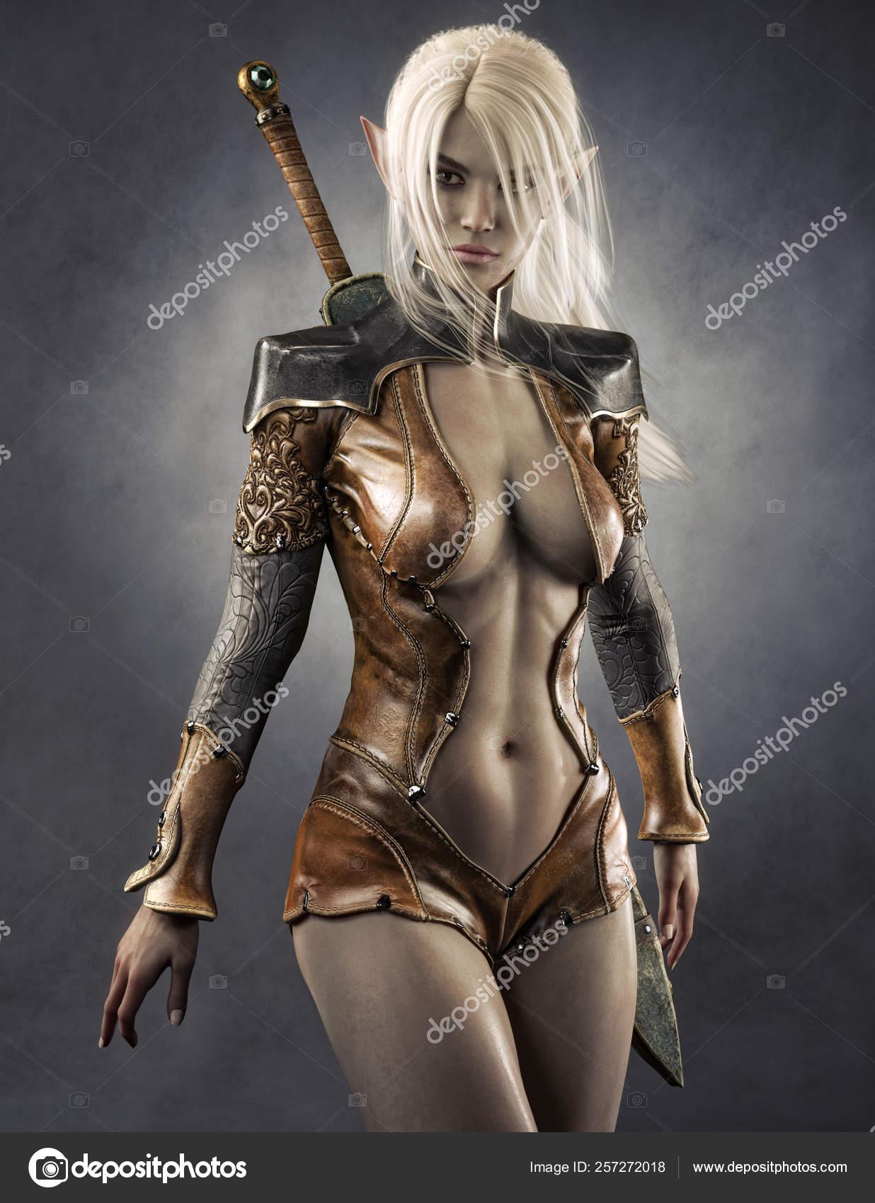 Dark Elf Portrait Portrait Fantasy Dark Elf Female Warrior White