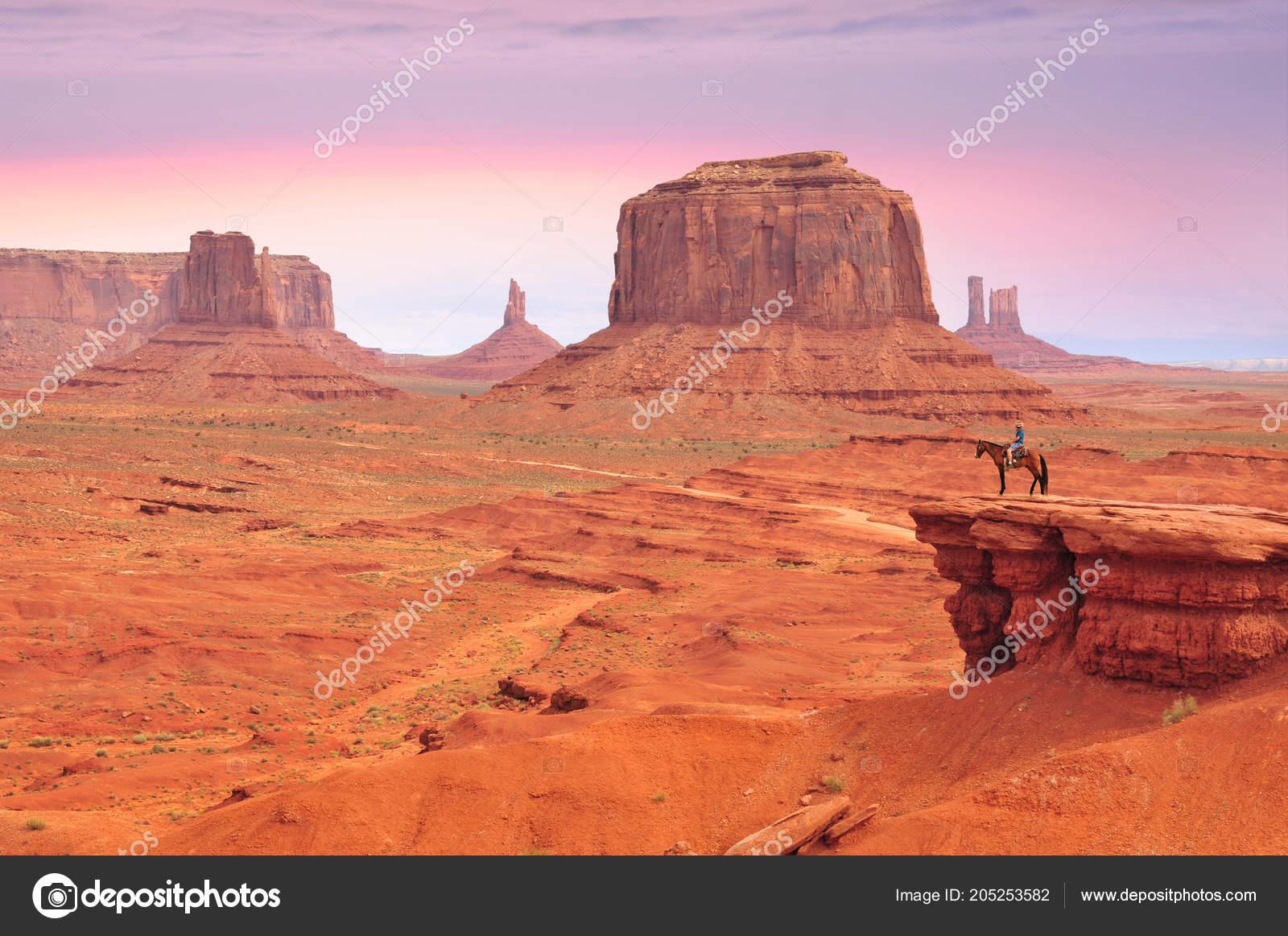 Homme Sur Cheval Vue John Ford Point Monument Valley Avec