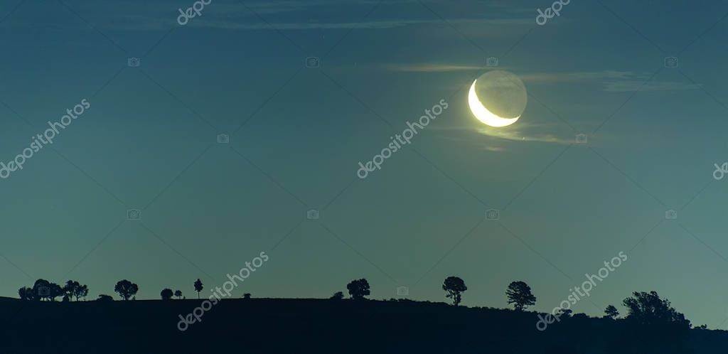 Night sky landscape , moon and land