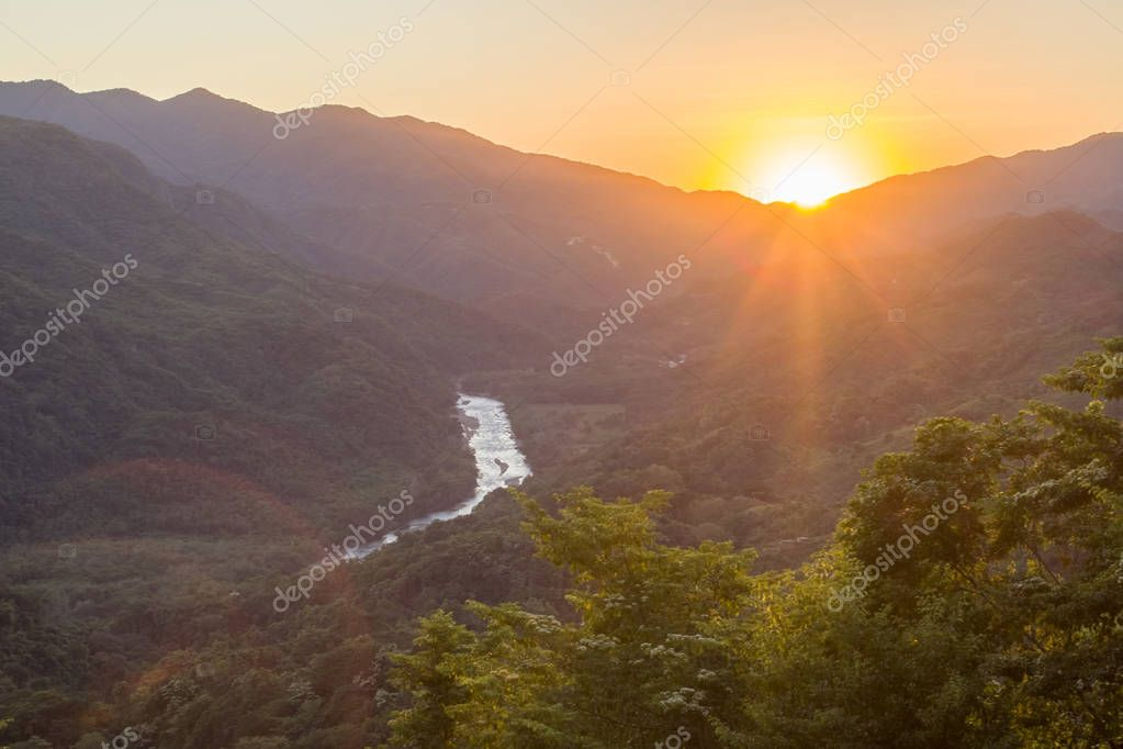 Sunset waterfalls of al Waterfalls of Copalitilla and Llano Grande, Huatulco ,Oaxaca Mexico
