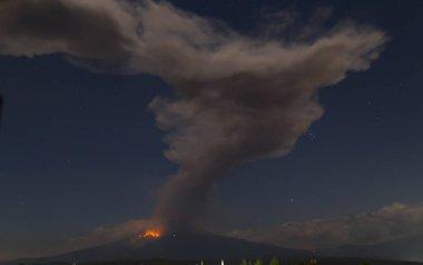 Puebla Mexico- March 18, 2019 Popocatepetl volcano eruption stock vector