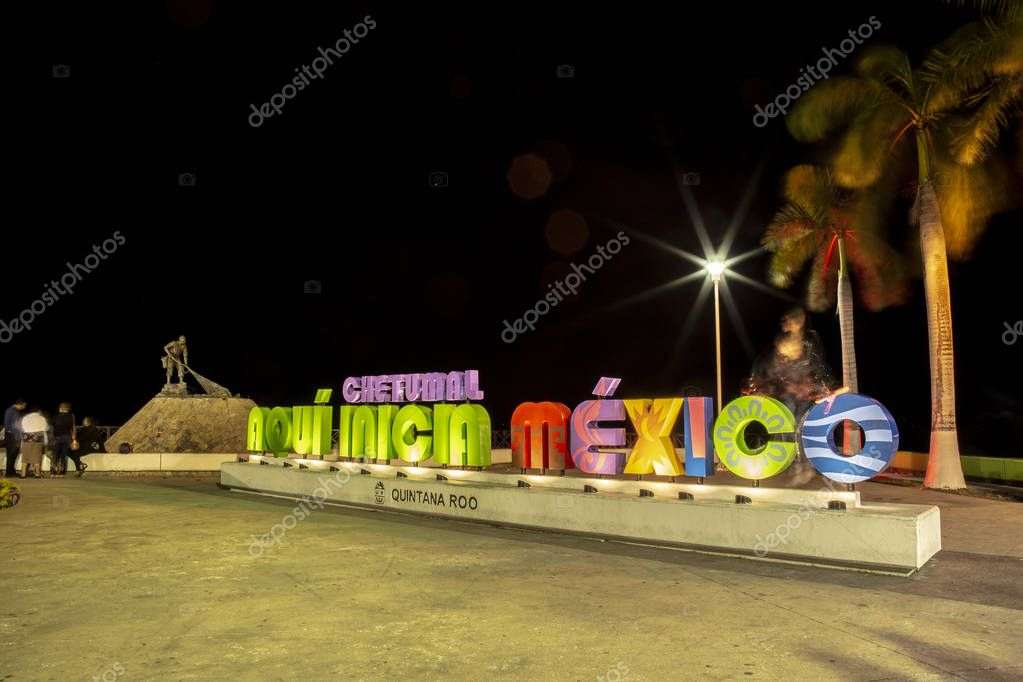big letters of chetumal, night, Quintana Roo