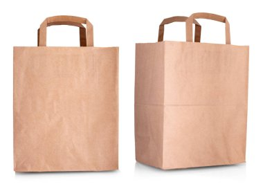 The paper shopping bag isolated on white background